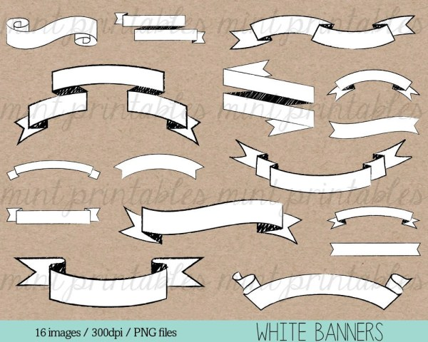 banners clipart white banner