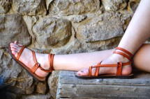 Orange Leather Women Sandals Barefoot Platform Flat