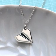 Origami Airplane Necklace Sterling Silver Plane Charm Airplane Jewelry Origami Charm Origami Pendant Modern Necklace Paper Plane Necklace