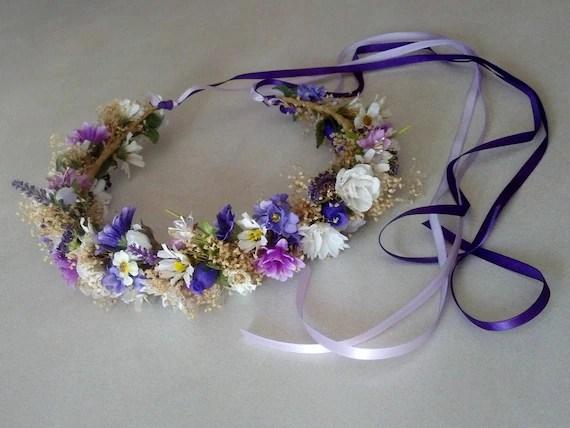 Boho Flower crown Dried Floral hair wreath lavender purple