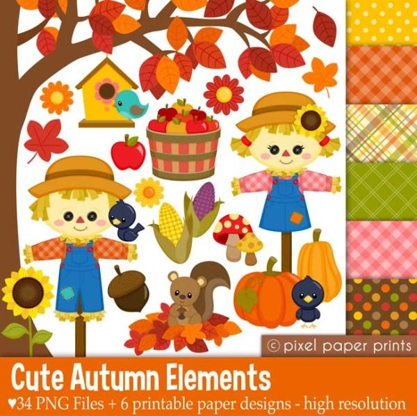 cute autumn elements fall clipart