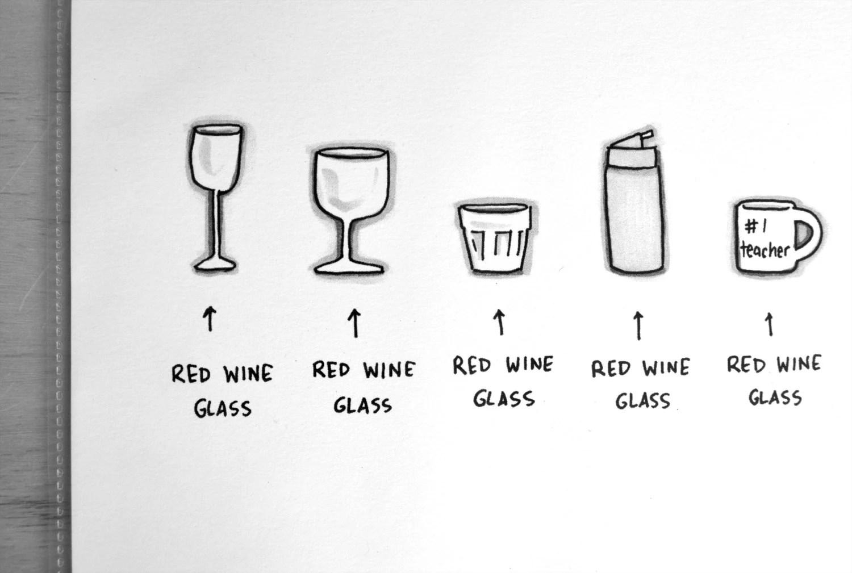 Types of Beverage Glasses Signed Cartoon by AZillionDollars