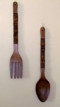 Large Wood Fork & Spoon Tiki Wall Decor