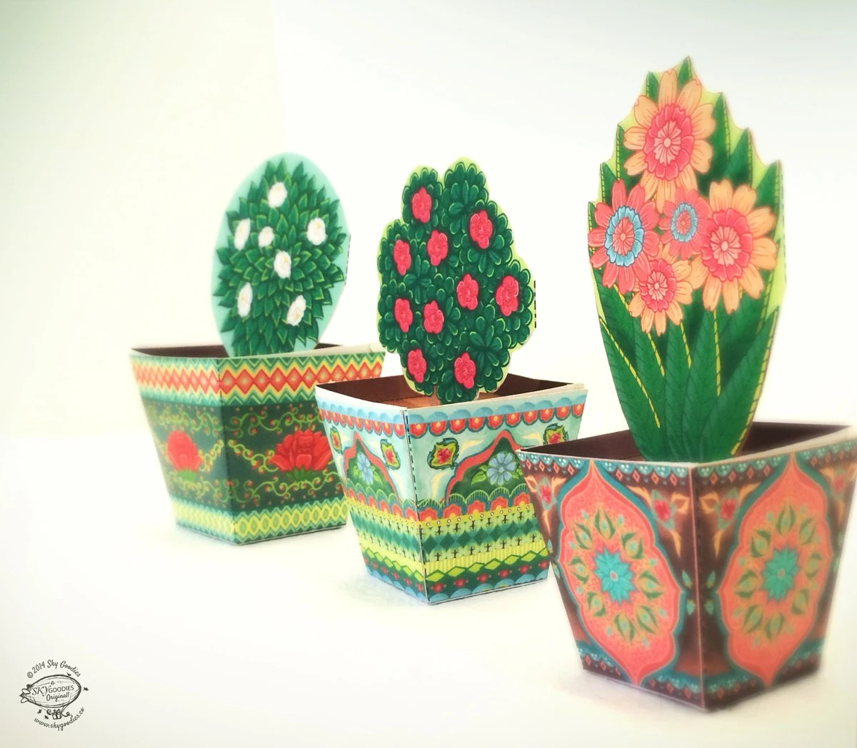 COMBO SAVER Set Of 3 Mini Flower Pots DIY Paper By SkyGoodies