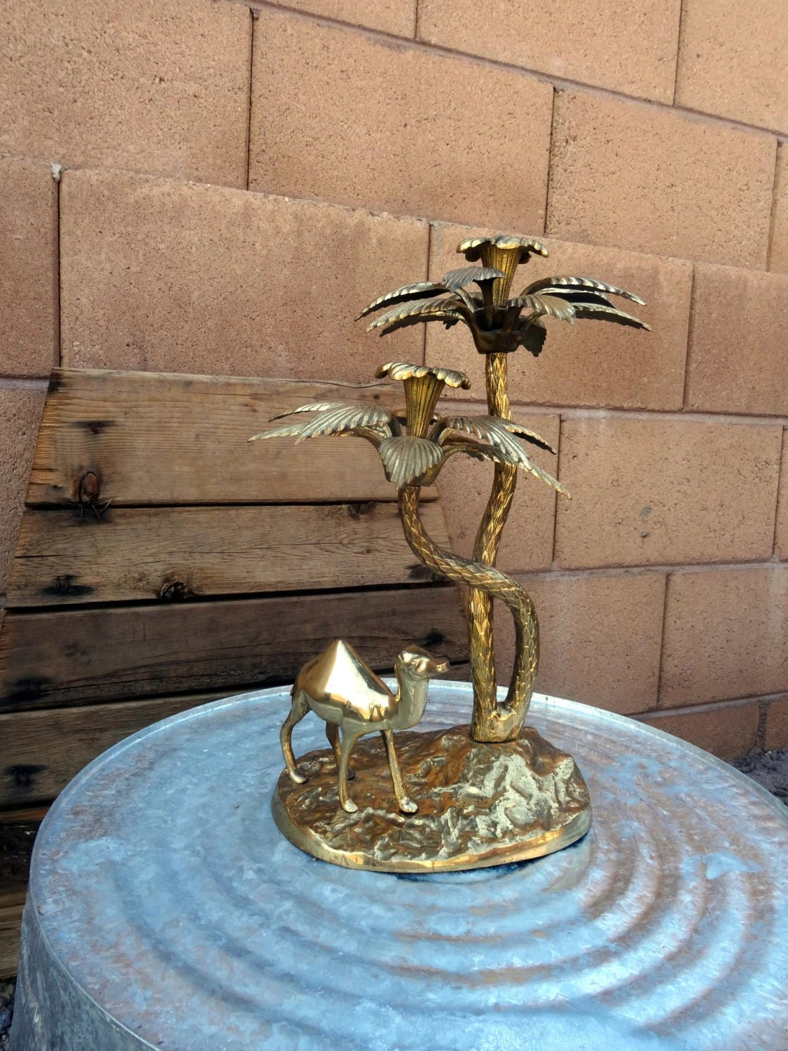 Vintage Brass 2 Candle Holder Camel Palm Trees Figurine