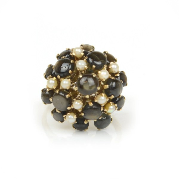 Vintage Black Star Sapphire Ring In 14k Yellow Gold