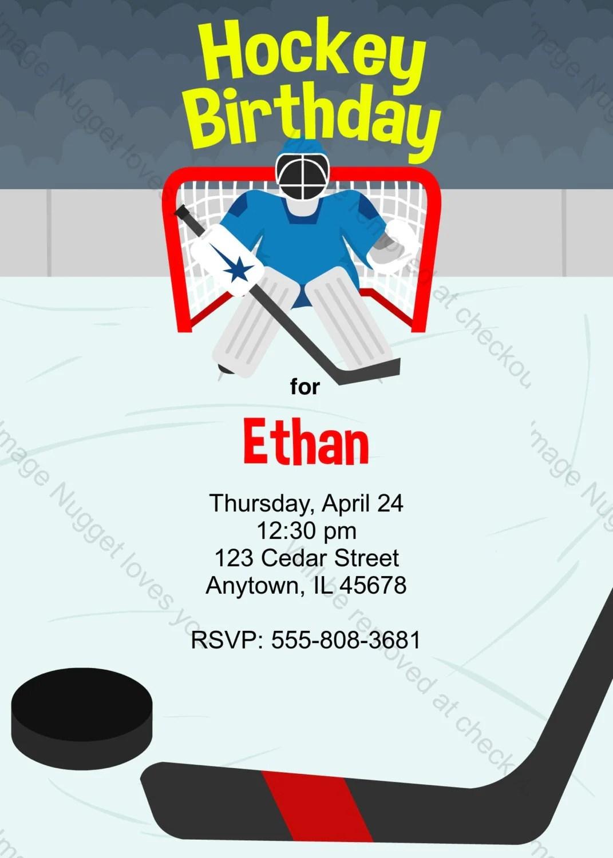 Ice Hockey Birthday Invitation Printable Design