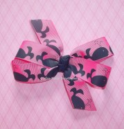 whale hairbow hair bow pink