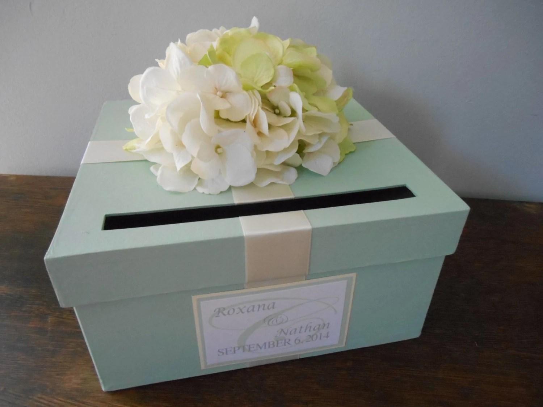 Custom Wedding Card Box Mint Green Wedding Reception Card
