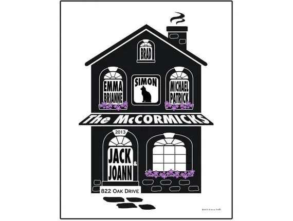 Personalized Family Home Slihouette Print Unframed 11x14