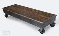 Reclaimed Wood & Steel Rolling Coffee Table Rolling Cart
