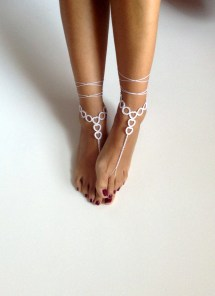Bridal Barefoot Sandals White Crochet
