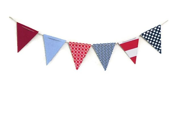Items similar to Red White and Blue Pennant Flag Banner