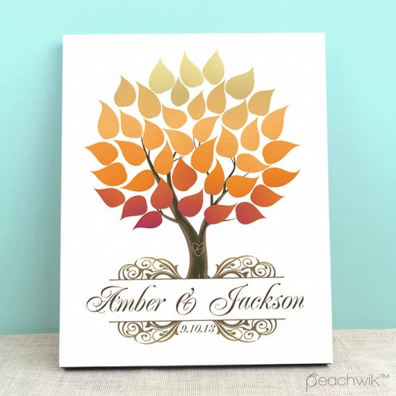 Guest Book Canvas Fall Wedding Guest Book Alternative by
