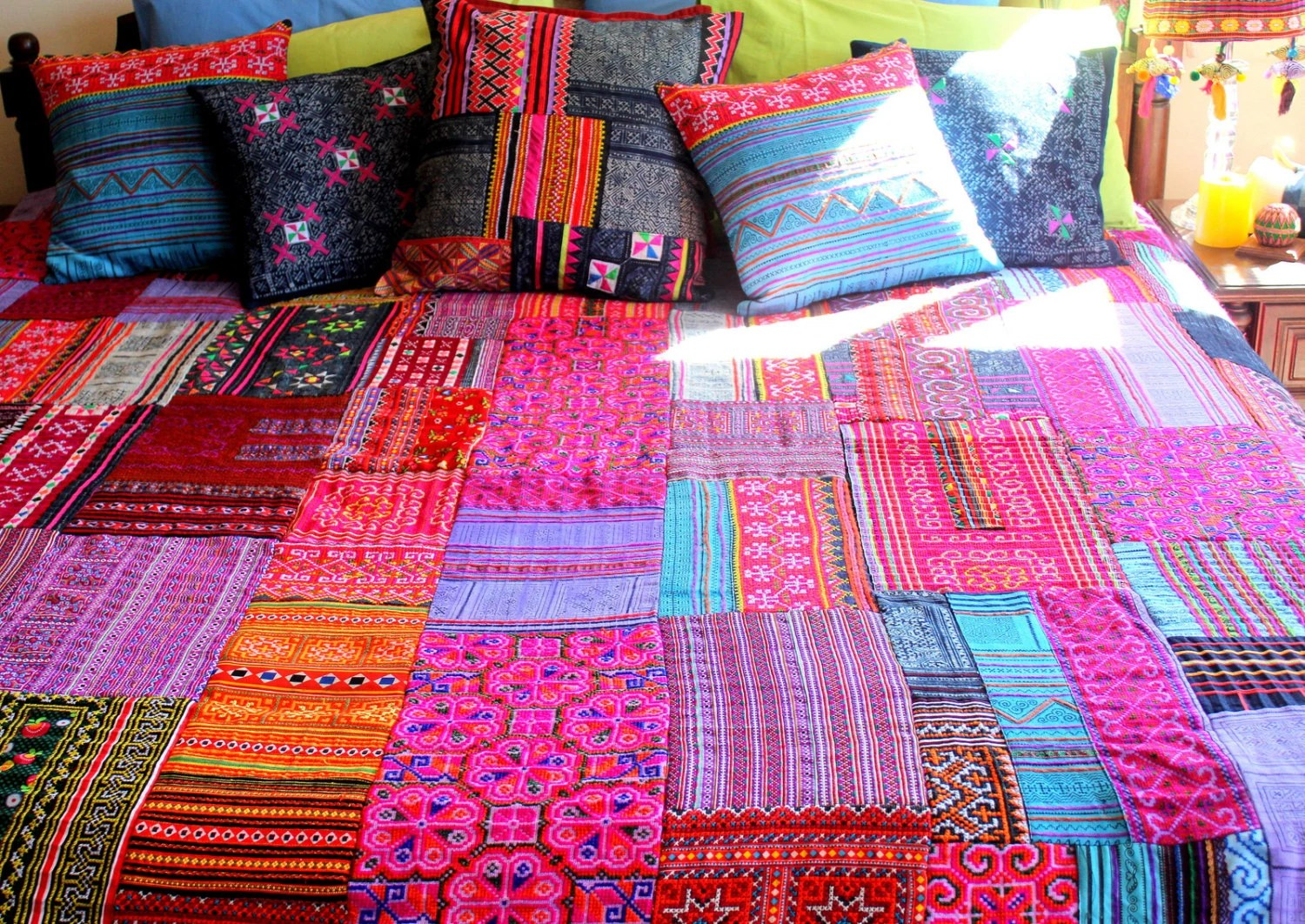 Patchwork Duvet Cover Hmong Batik Embroidery by