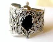 Large Silver Cuff Black Onyx Silver Cuff  Bracelet Art Nouveau Victorian Gothic Jewelry