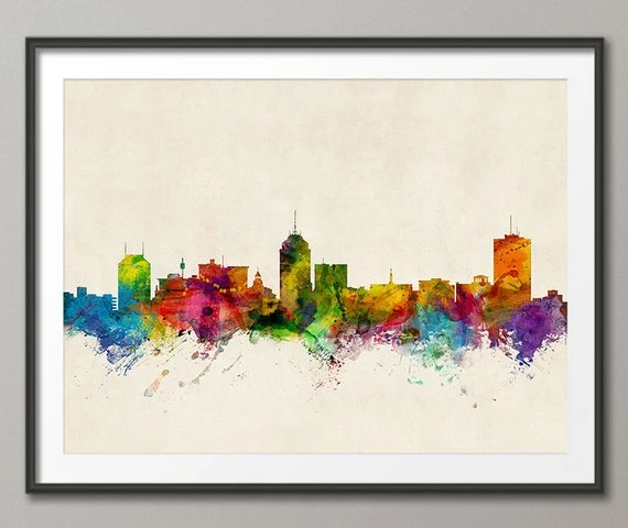 Fresno California Skyline Cityscape, Art Print (1005)