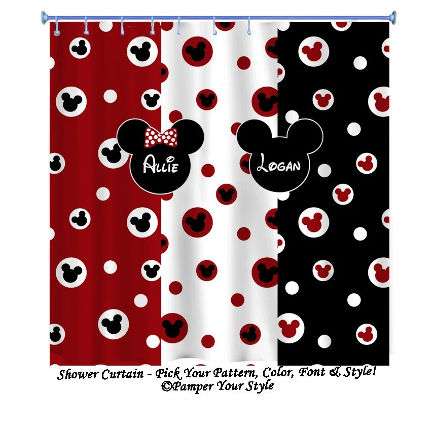 Mickey Mouse Shower Curtain Minnie Mouse by PAMPERYOURSTYLE