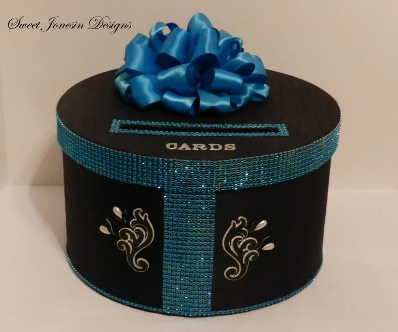 Bling Wedding Card Box Black and Turquoise Diamond Mesh Wrap
