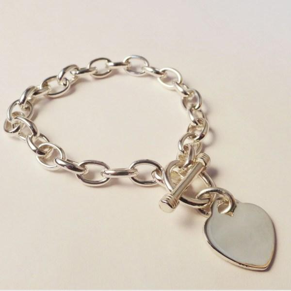 TiffanyLike Sterling Silver HeartLink BraceletPersonalized