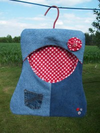Denim Clothespin Bag Peg Clothesline Bag Farmhouse Decor