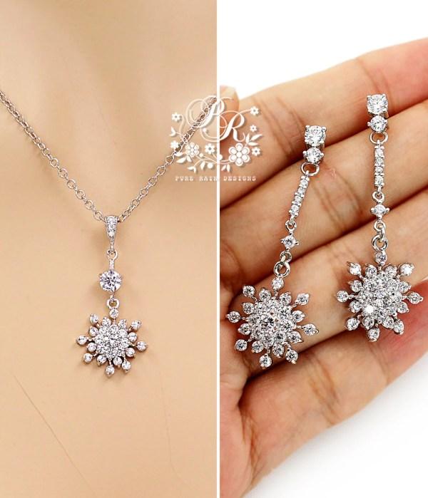 Wedding Jewelry Set Zirconia Snowflake Necklace Earrings
