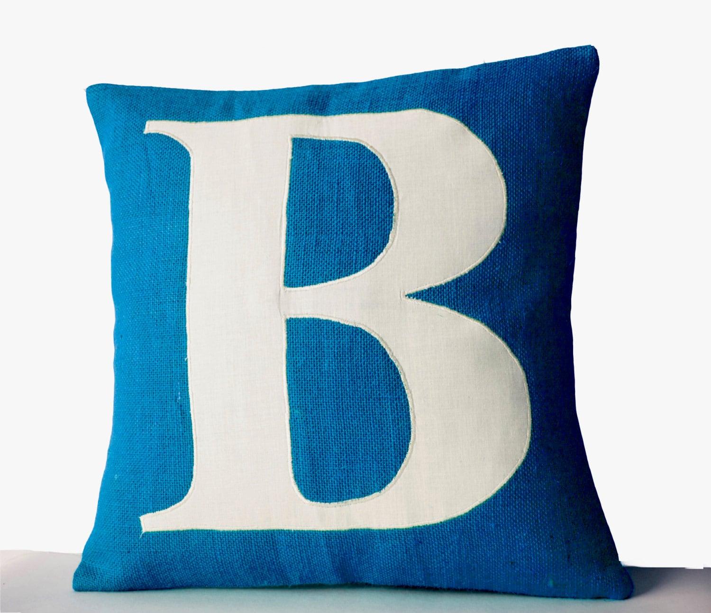 Blue Pillows Personalized Monogram throw pillow Burlap