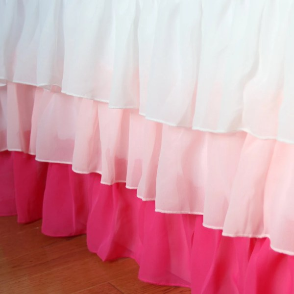 Pink Gradient Ruffle Bed Skirt Dust With Lovelydecor
