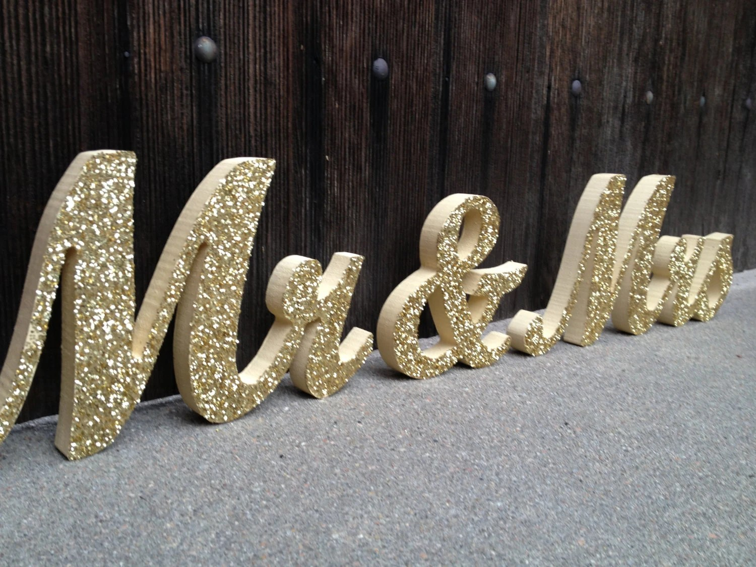 Glittery Mr & Mrs Signs Sweetheart Table Signs