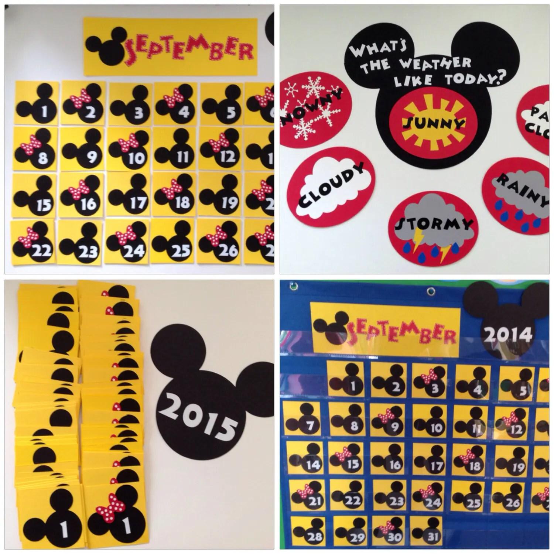 Kindergarten Preschool Disney Calendar Amp Weather