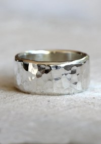 Hammered band men's wide band hammered ring in sterling