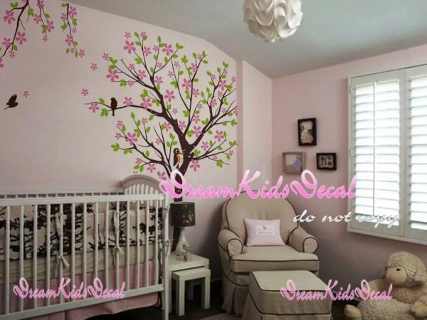 Cherry Blossom Tree Wall Decal for Nursery Girl