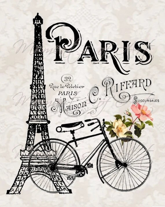 Paris Eiffel Tower and Bicycle 8x10 Art Print by MomentsOfArt