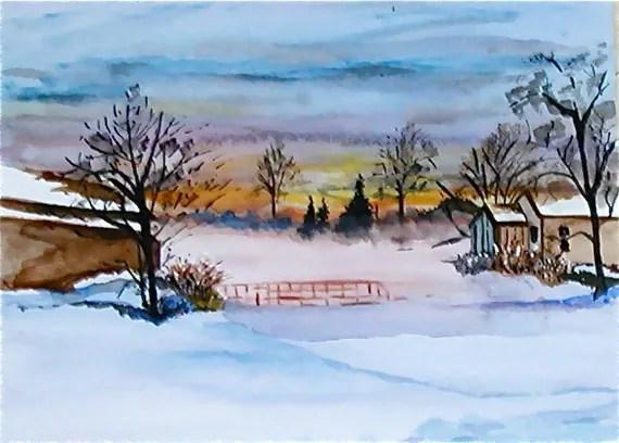 Inverno alba Art Print da acquerello originale scena di neve