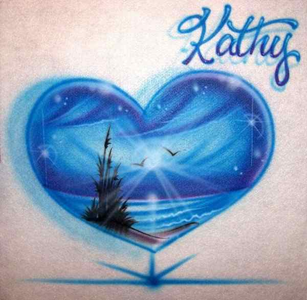 Airbrushed Beach Scene Heart T-shirt Personalized With