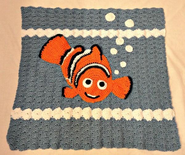 Crocheted Baby Blanket Nemo Goldfish Blue Fish White