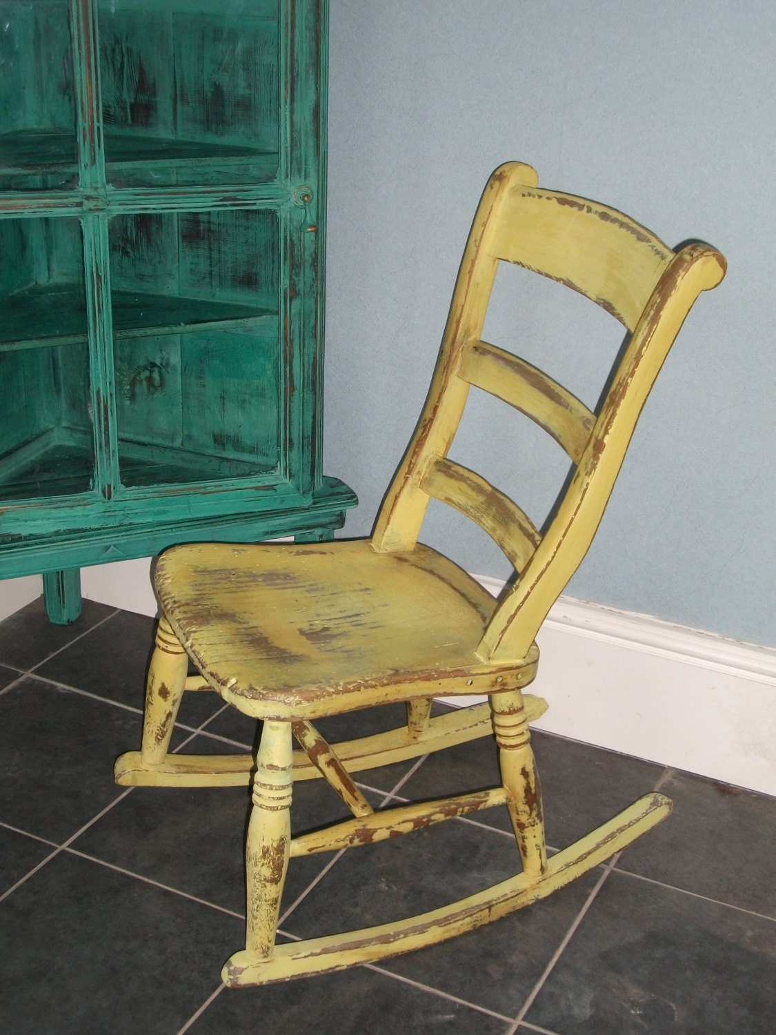 unfinished wood rocking chair white wire solid distressed and waxed by ettasnest