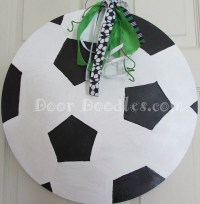 Soccer ball front door decoration hanger hanging wreath