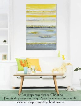 "GICLEE PRINT Art Yellow Grey Abstract Painting Modern Textured Coastal Canvas Prints Horizon Gold White Wall Decor XL size to 60"" -Christine"