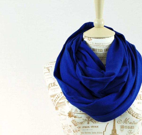 Royal Blue Infinity Scarf Circle Scarf Blue by ForgottenCotton
