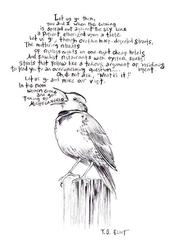 Homage to T.S. Eliot bird art print of an original drawing