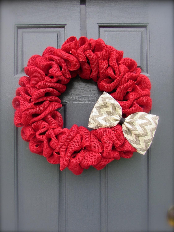 Red Burlap Wreath Chevron Wreath Spring Burlap Wreath