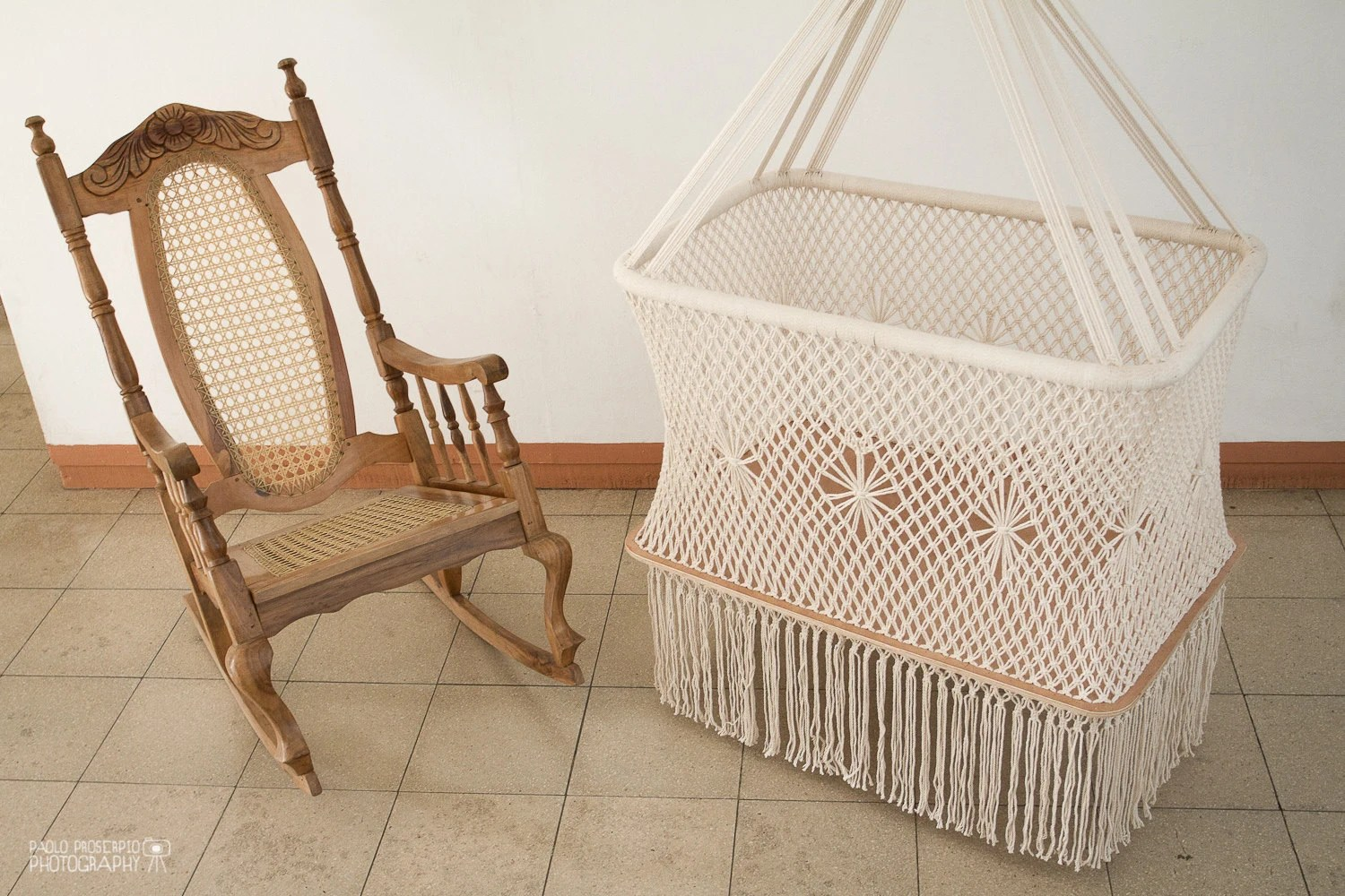 hanging chair for baby office gym ball swinging cradle in macrame rectangular shape