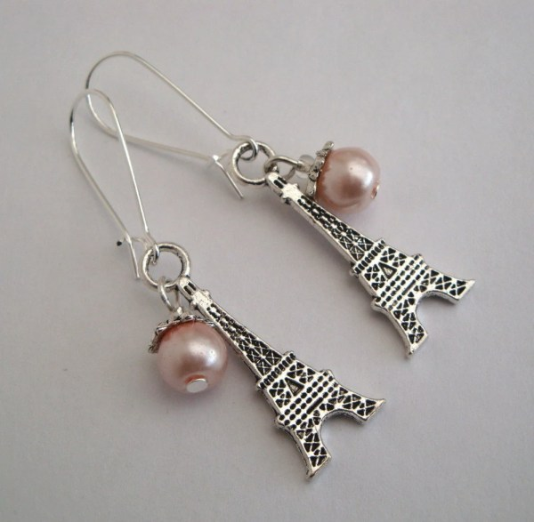 Eiffel Tower Earrings Paris Silver Charms Pink Glass Pearl