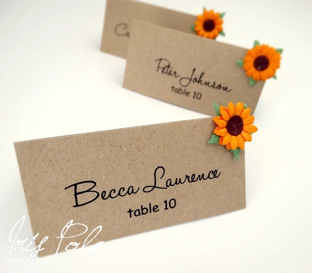 Eco paper sunflower barn wedding burlap country for Wedding place name cards