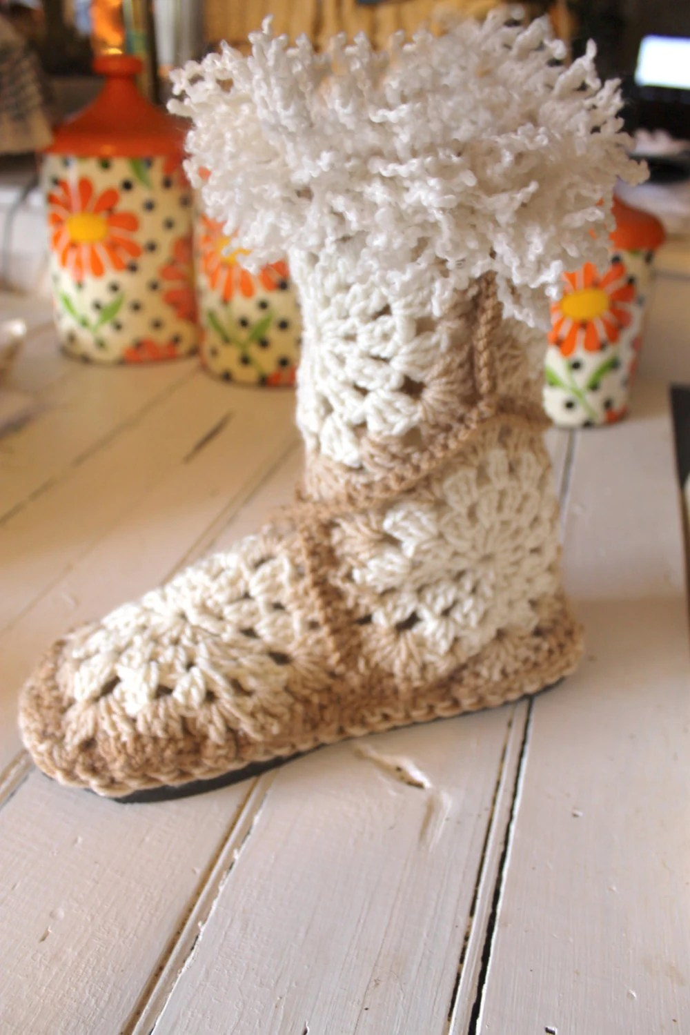 Crochet Boot PatternGRANNY SQUARE SLIPPER Boots by OnWillowLane