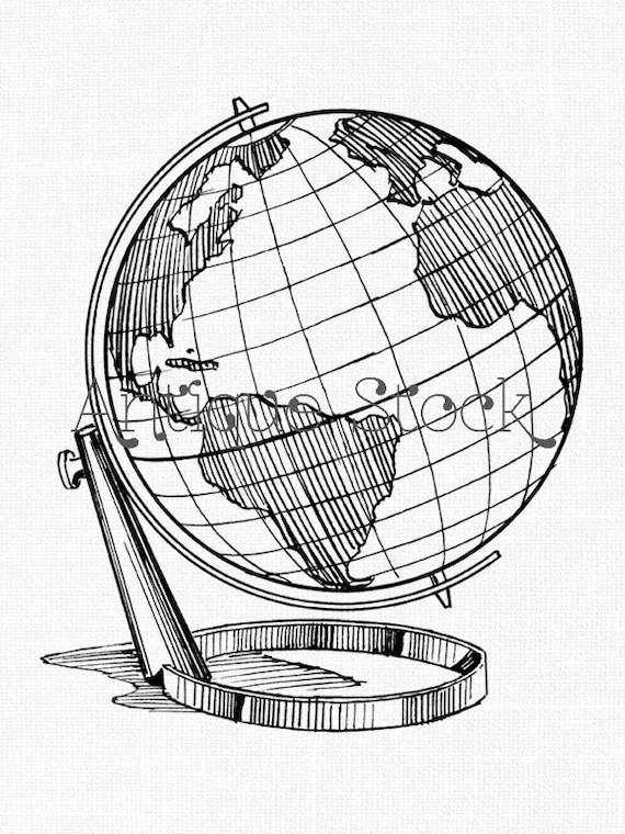 Globe Line Art Earth Globe Printable Image Download