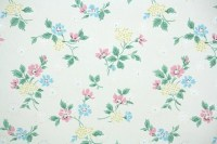 1950s Vintage Wallpaper by the Yard Floral Wallpaper with