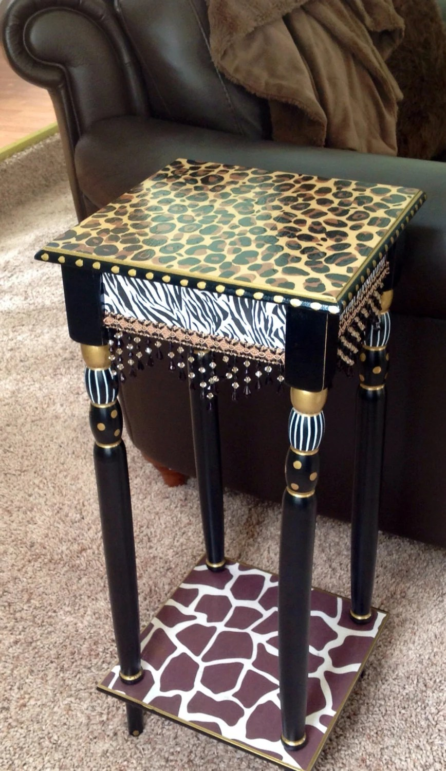 Whimsical Painted Table Painted Leopard By