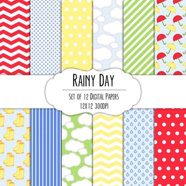 Rainy Day Digital Scrapbook Paper 12x12 Pack Set of 12